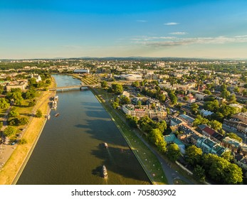 Cracow from the bird's eye view. City landscape with river Vistula. Two banks of the Vistula in Cracow.