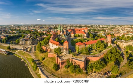 Cracow from the bird's eye view - city landscape with castle and Wawel Cathedral. Panoram of the city from the air.