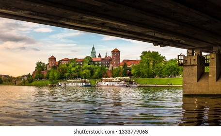 CRACOW ( KRAKOW ), POLAND - MAY 09, 2015: Panorama of antique royal Wawel castle and Vistula river in Cracow ( Krakow ), Poland