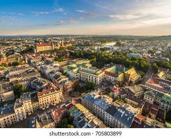 Cracow - the landscape of the old town from the bird's eye view, with the visible royal castle on Wawel and Vistula River.