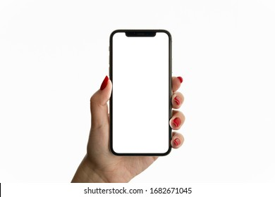 Cracow, Malopolskie / Poland - March 25 2020: Woman hand holding iPhone 11. The black Apple iPhone 11 Pro with blank screen template - modern frameless design
