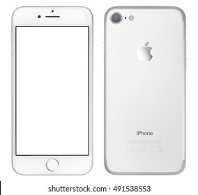 CRACOW - November 01: Brand new iPhone 7 silver with blank screen isolated on white background, Poland on November 01, 2016