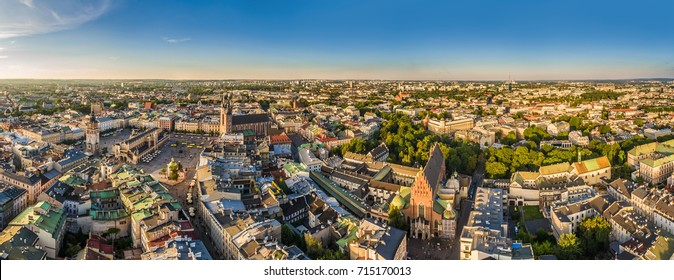 Cracow - panorama of the old town with Main Square and St. Mary's Basilica. Bird's-eye view.