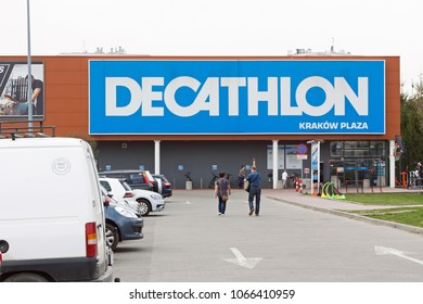 CRACOW, POLAND - APRIL 11, 2018. Decathlon store in Cracow. Decathlon S.A. is a French sporting goods retailer