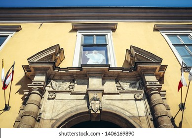 Cracow, Poland - April 18, 2010: Palace of Bishops in Cracow city with a portrait of John Paul II in a so called Pope Window