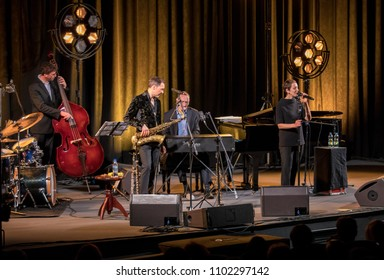 Cracow, Poland - April 26, 2018: The performance of the American jazz vocalist Stacey Kent with her accompanying quartet on the Kijow.Centre stage in Krakow, Poland.
