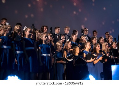 Cracow, Poland - December 7, 2018:  the Multimedia Christmas Oratory - to Bethlehem performed by the Filharmonia Futura and Choir Fermata. Cracow. Poland