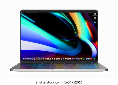 Cracow, Poland - February 24, 2020 : MacBook Pro a new version OS for Mac of the laptop from Apple