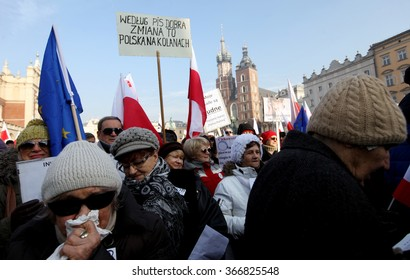 CRACOW, POLAND - JANUARY 23, 2015: Cracow, Main Square - The demonstration of the Committee of the Protection of Democracy / KOD/ against the break of law through the government PIS in Poland.