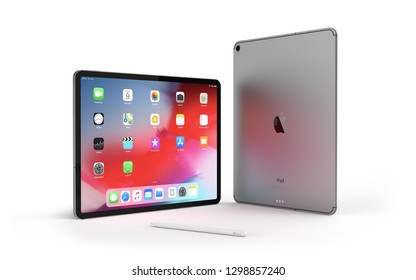 Cracow, Poland - January 29, 2019 :  iPad Pro a new version of the tablet from Apple.