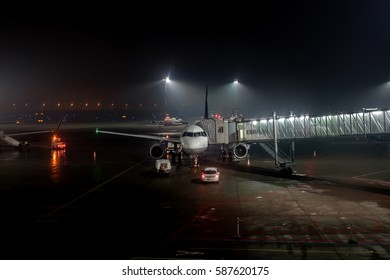 CRACOW, POLAND - JANUARY 31: Ryanair plane being prepared for morning flight at the airport Cracow Balice, Cracow on January 31, 2017 in Poland.