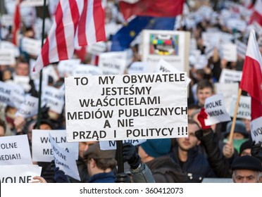 CRACOW, POLAND - JANUARY 9, 2016:  -  The demonstration of the Committee of the Defence  of the Democracy  KOD  for free media /wolne media/ and democracy against PIS government. Cracow , Poland