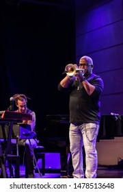 Cracow, Poland - July 17, 2019: Terence Blanchard and The E-Collective on stage in Manggha Museum of Japanese Art and Technology at the Summer Jazz Festival in Krakow. Poland