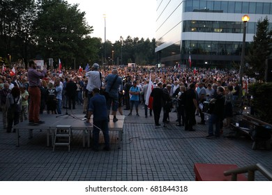 CRACOW, POLAND - JULY 21, 2017: Thousands of government opponents protested in Cracow against new judicial reforms and future plans to change the Supreme Court. Cracow. Poland
