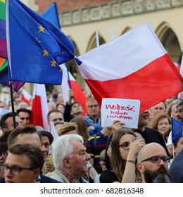 CRACOW, POLAND - JULY 23, 2017: Cracow -  People protest against violation the constitutional law in Poland. Defense of the triad of division of power and independence of the highest court in Poland