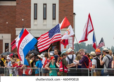 CRACOW, POLAND - JULY 26, 2016: World Youth Day 2016 - Pilgrims in The centre of Pope John Paul II Lagiewniki. Cracow, Poland