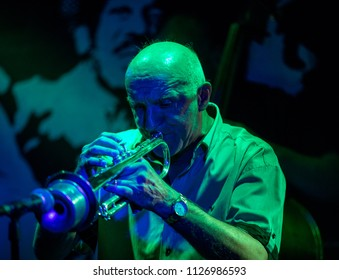 Cracow, Poland - July 3 2018: Adam Kawonczyk Quartet live at the Summer Jazz Festival in Krakow, is the 23rd edition of the festival, which will host over 150 concerts
