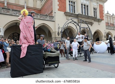 CRACOW, POLAND - JULY 5, 2017: 30th Street - International Festival of Street Theaters in Cracow, Poland.  An Odyssey Towards New Shores - a street parade