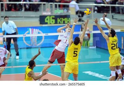 CRACOW, POLAND - JUNE 20, 2015: FIBV World League Volleyballo/p Piotr Nowakowski, Sidnei Dos Santos Junior, Raphael Oliveira