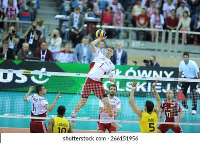 CRACOW, POLAND - JUNE 20, 2015: FIVB World League Volleyball o/p Ricardo Lucarelli Souza, Piotr Nowakowski, Sidnei Dos Santos Junior