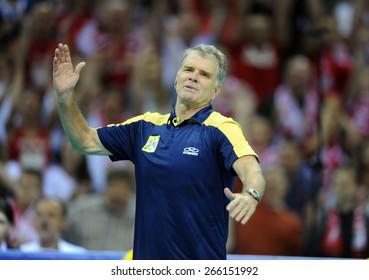 CRACOW, POLAND - JUNE 20, 2015: FIVB World League Volleyball o/p Rezende Bernardo Brasilian coach