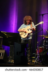 CRACOW, POLAND - JUNE 26, 2016: Pat Metheny playing on acoustic guitar at Summer Jazz Festival in Cracow, Poland.