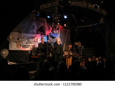 Cracow, Poland - June 26, 2018: Legendary Polish singer Hanna Banaszak performs live at the Summer Jazz Festival in Krakow, is the 23rd edition of the festival, which will host over 150 concerts