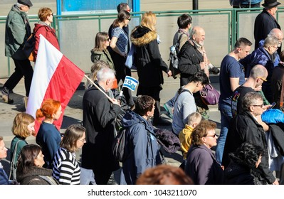 Cracow, Poland - March 11, 2018: The 75th Anniversary of the Krakow Ghetto Liquidation - Remembrance March. Cracow. Poland