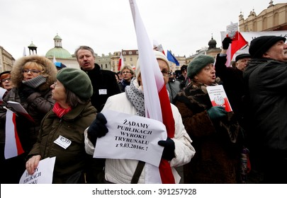 CRACOW, POLAND - MARCH 12, 2016: - The demonstration of the Committee of the Defence of the Democracy KOD for free media /wolne media/ and democracy against PIS government. Cracow , Poland