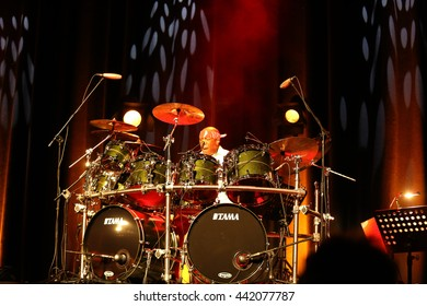 CRACOW, POLAND - MARCH 16, 2016: Famous American drummer Billy Cobham live on stage in ICE Cracow, Poland