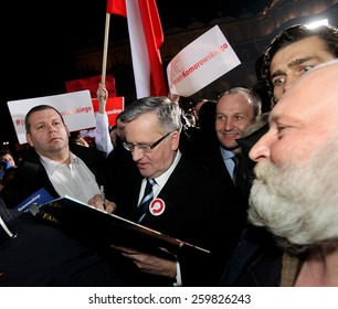 CRACOW, POLAND - MARCH 8, 2015: The commencement of the presidential campaign by Bronislaw Komorowski in Cracow, Poland