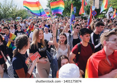 "CRACOW, POLAND - MAY 18, 2019: 15th Equality March took place in Cracow under the slogan ""Let's make a paradise"". Several thousand Krakow residents, tourists and activists for homosexuals participated"