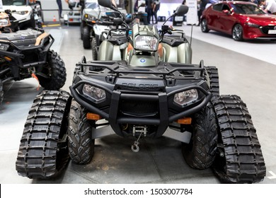 Cracow, Poland - May 18, 2019: Polaris quad displayed at  Moto Show in Cracow Poland. Exhibitors present  most interesting aspects of the automotive industry