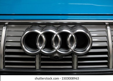Cracow, Poland - May 18, 2019: Audi metalic logo closeup on the Toyota  car displayed at Moto Show in Cracow Poland. Exhibitors present  most interesting aspects of the automotive industry