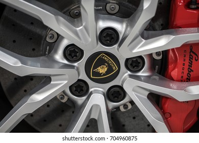 CRACOW, POLAND - MAY 20, 2017: The wheel of Lambroghini  displayed at 3rd edition of MOTO SHOW in Cracow Poland. Exhibitors present  most interesting aspects of the automotive industry