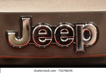 CRACOW, POLAND - MAY 20, 2017: Jeep metallic logo closeup on Jeep car displayed at  MOTO SHOW in Cracow Poland. Exhibitors present  most interesting aspects of the automotive industry