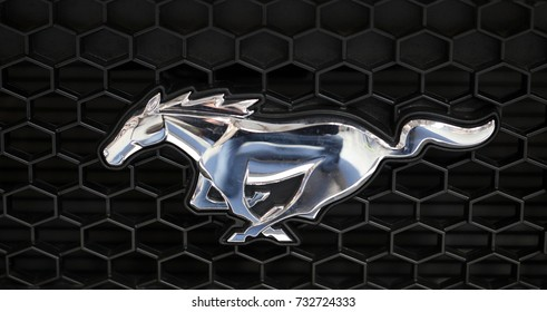 CRACOW, POLAND - MAY 20, 2017: Ford Mustang metallic logo closeup on Ford Mustang  car displayed at  MOTO SHOW in Cracow Poland. Exhibitors present  most interesting aspects of the automotive industry
