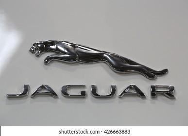 CRACOW, POLAND   MAY 21, 2016: Jaguar Metallic Logo Closeup On The Jaguar