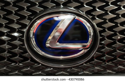 CRACOW, POLAND - MAY 21, 2016:  Lexus metac logo closeup on Lexus  car displayed at 3rd edition of MOTO SHOW in Cracow Poland. Exhibitors present  most interesting aspects of the automotive industry