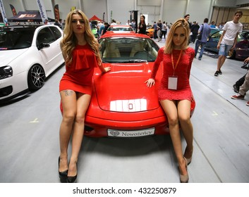 CRACOW, POLAND - MAY 21, 2016: Ferrari car displayed at 3rd edition of MOTO SHOW in Cracow Poland. Exhibitors present  most interesting aspects of the automotive industry