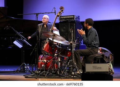 CRACOW, POLAND - MAY 8, 2017: Chick Corea Trio live on stage in ICE Cracow, Poland. Chick Corea is one of the world of jazz giants, a true legend of the piano and keyboards,