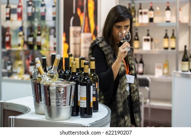 CRACOW, POLAND - NOVEMBER 17, 2016: International Wine Trade Fair ENOEXPO in Cracow. Every year the producers of wine from all around the world meet the importers, distributors. Cracow, Poland