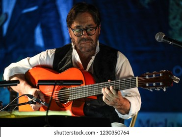 Cracow, Poland - November 2, 2018: American jazz fusion and Latin jazz guitarist Al Di Meola performing live on the Kijow.Centre stage in Krakow, Poland