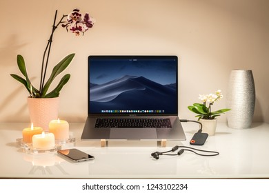 Cracow, Poland - November 28, 2018 :  Macbook Pro a new version of the laptop from Apple.