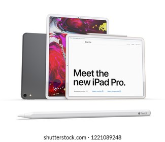 Cracow, Poland - November 4, 2018 :  iPad Pro a new version of the tablet from Apple.