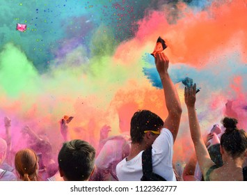 Cracow, Poland . People dancing and celebrating during Music and Colors festival.
