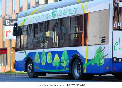 Cracow/Krakow/Poland - 16 April 2019: Electric bus, manufactured by the Polish company Solaris Bus & Coach, which actively enters the electro mobility market.