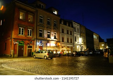 Cracow/Krakow/Poland - 23 July 2018: Tonight trendy, creative evening Kazimierz is Krakow's historic Jewish quarter, now a jumble of indie galleries, quirky shops, vintage clothing stores and bars.