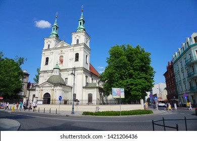 Cracow/Krakow/Poland - 9 June 2019: Jan Matejko Square. The Collegiate Church of St. Florian is a historic church in Kraków, Poland.