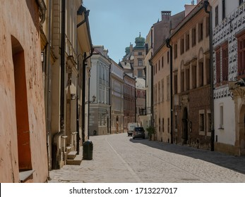 Cracow/Poland - 23/04/2020. Almost empty medieval Kanonicza street in Krakow during coronavirus covid-19 pandemic.